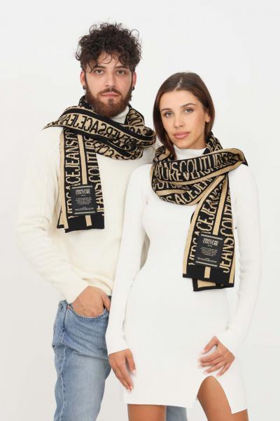 VERSACE JEANS COUTURE Sciarpa nero oro versace jeans couture con logo allover  Sciarpe   71VA2H50ZG024G89(899+948)