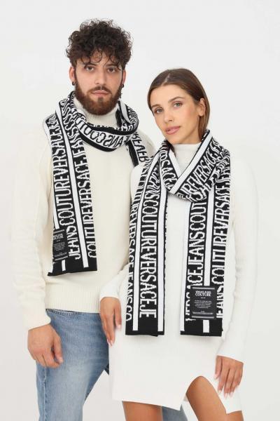 VERSACE JEANS COUTURE Sciarpa unisex nero versace jeans couture con logo lettering a contrasto  Sciarpe   71VA2H50ZG025L01(899+003)