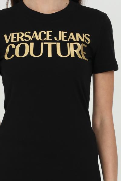 VERSACE JEANS COUTURE T-shirt donna nera Versace Jeans Couture con logo frontale oro  T-shirt   B2HWA7TB30319K42