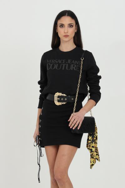 VERSACE JEANS COUTURE Felpa donna nera versace jeans couture girocollo con maxi logo frontale tono su tono  Felpe | B6HWA7TN30453899