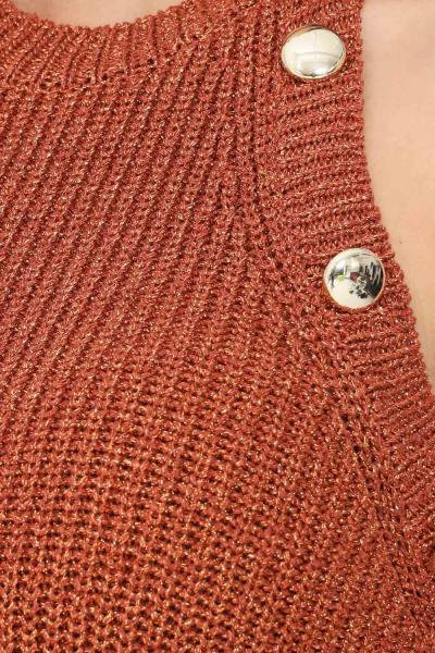 VICOLO Abito in maglia donna ruggine vicolo con inserti lurex e applicazione bottoni  Abiti   5139XMARRONE