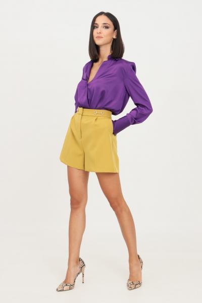 VICOLO Shorts donna senape vicolo elegante con morsetti oro  Shorts   TX0066SENAPE