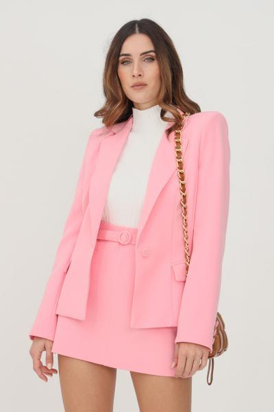 VICOLO Giacca donna rosa monopetto con applicazioni oro sulle tasche  Giacche   TX0102ROSA