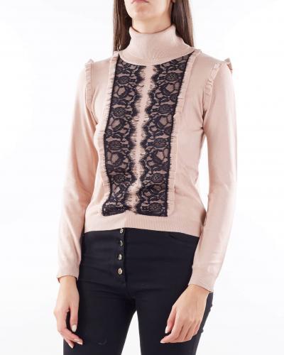 ANNA MOLINARI Maglia collo alto con rouches e pizzo Anna Molinari  T-shirt   7M052A1741