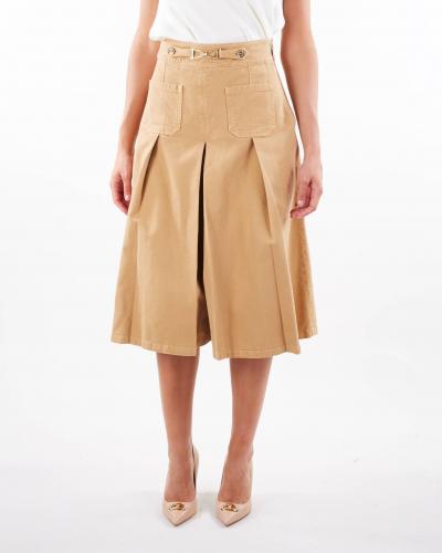 ELISABETTA FRANCHI Gonna pantalone in denim con staffa oro Elisabetta Franchi  Jeans | PJ09D16E2470