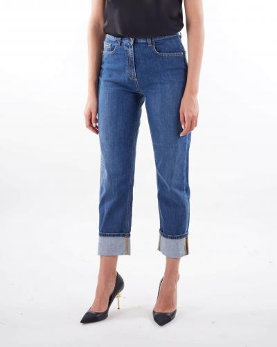 ELISABETTA FRANCHI Jeans mom fit con logo ricamato Elisabetta Franchi  Jeans | PJ10D16E2139