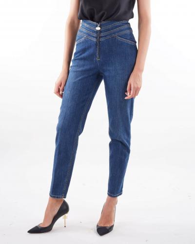 ELISABETTA FRANCHI Jeans a vita alta con fascia in vita e logo Elisabetta Franchi  Jeans | PJ11D16E2139