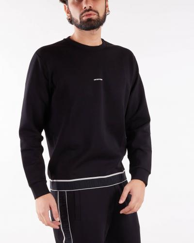EMPORIO ARMANI Felpa in double jersey con banda elastica logo jacquard Emporio Armani  Felpe | 6K1M741JHSZ999