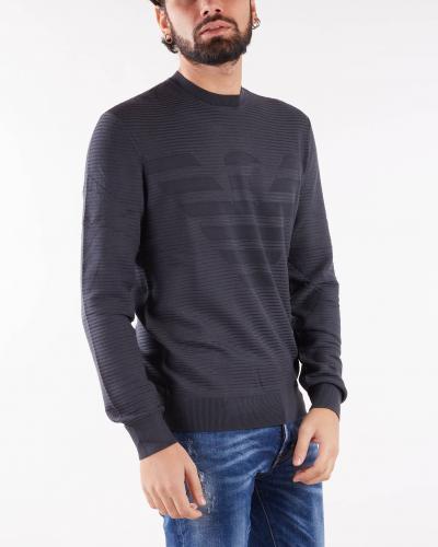 EMPORIO ARMANI Maglia in tessuto ottoman con intarsio maxi aquila Emporio Armani  T-shirt | 6K1MXD1MVRZ633