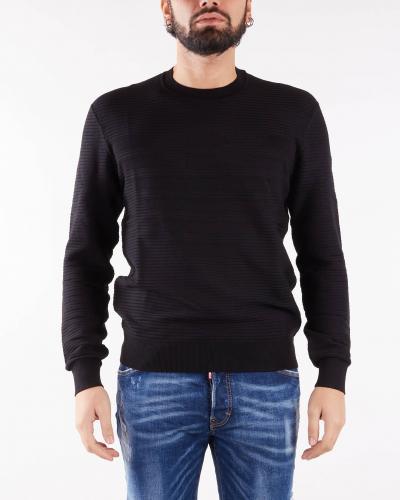 EMPORIO ARMANI Maglia in tessuto ottoman con intarsio maxi aquila Emporio Armani  T-shirt | 6K1MXD1MVRZ999