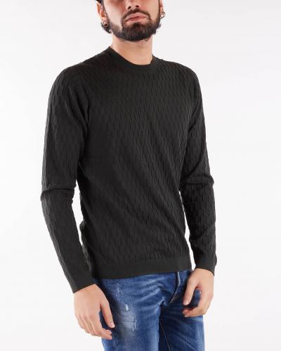 EMPORIO ARMANI Maglia in tessuto punto operato motivo geometrico Emporio Armani  T-shirt | 6K1MXE1MVWZF535