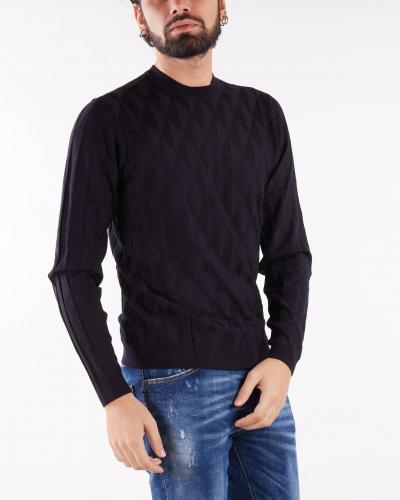 EMPORIO ARMANI Maglia in tessuto punto operato motivo geometrico Emporio Armani  T-shirt | 6K1MXE1MVWZF922