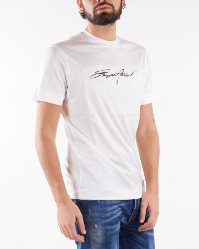 EMPORIO ARMANI T-shirt in jersey misto Tencel ricamo logo signature Emporio Armani  T-shirt | 6K1T781JUVZ101