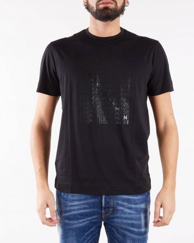 EMPORIO ARMANI T-shirt in jersey Pima con stampa eagle su logo stencil Emporio Armani  T-shirt | 6K1TA51JPZZ28