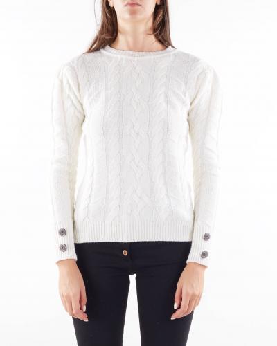 GIULIA N Maglia con trecce e accessorio sui polsi Giulia N  T-shirt | GI21155PANNA