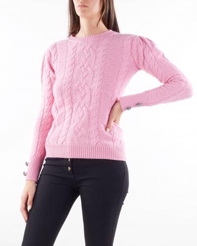 GIULIA N Maglia con trecce e accessorio sui polsi Giulia N  T-shirt | GI21155ROSA
