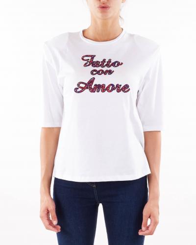 GIULIA N T-shirt con ricamo ''Fatto con Amore'' Giulia N  T-shirt | MARISA13BIANCO