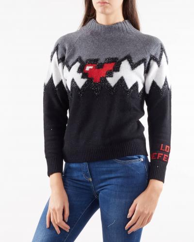 NENETTE Maglia jacquard con cuore pixel Nenette  T-shirt | MALI700