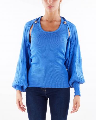 SIMONA CORSELLINI Coordinato top a costine e cardigan coprispalle manica ampia Simona Corsellini  T-shirt   MGO0401C0120013522