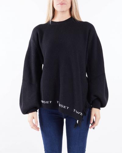 TWIN SET Maxi maglia in misto lana a coste con frange Twinset  T-shirt | TT33013710