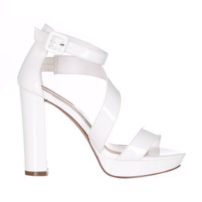 06 MILANO Sandalo Con Tacco Doppio E Cinturino  scarpe | SA0048WHITE