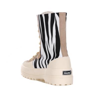 SUPERGA X PAURA Sneakers Animalier Con Chiusura In Zip E Lacci  Sneakers | S6111BWBLACKZEBRA.
