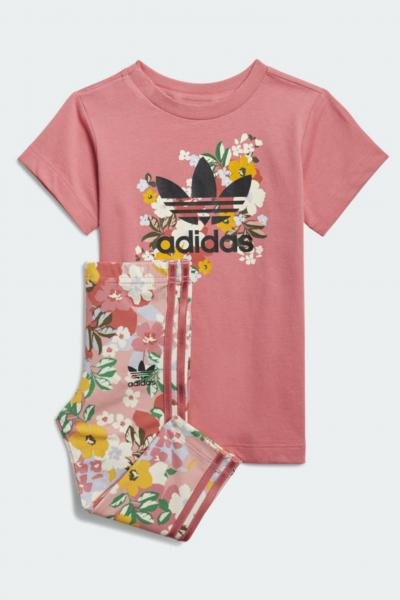 ADIDAS Completino bambina rosa adidas con stampa flower  Completini   GN2260.