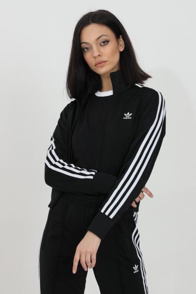 ADIDAS Felpa donna nero adidas con zip integrale e bande laterali  Felpe   GN2817.