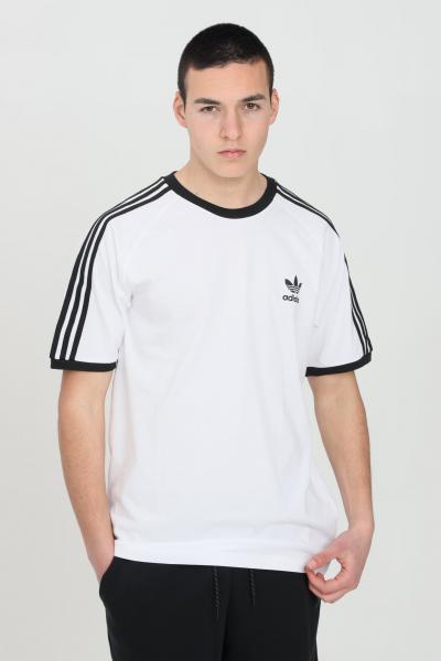 ADIDAS T-shirt uomo bianco adidas a manica corta con bande sulle spalle  T-shirt   GN3494.