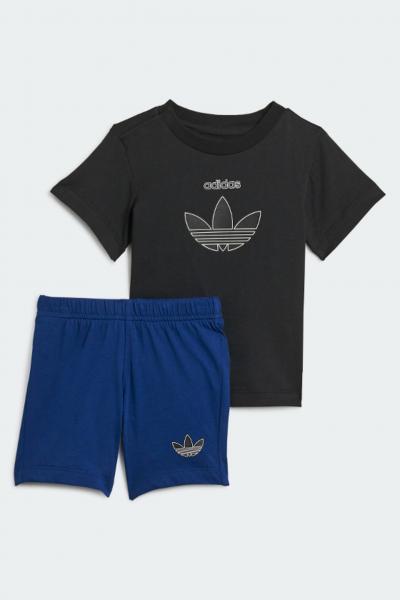 ADIDAS Completino neonato nero blu adidas con stampa trifoglio  Completini   H25237.
