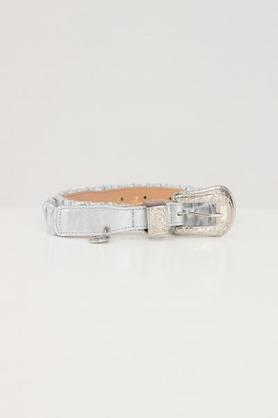 ARGENTO ANTICO Cintura elastica donna argento antico con fibbia lavorata tono su tono  Cinture | AA1615ARGENTO