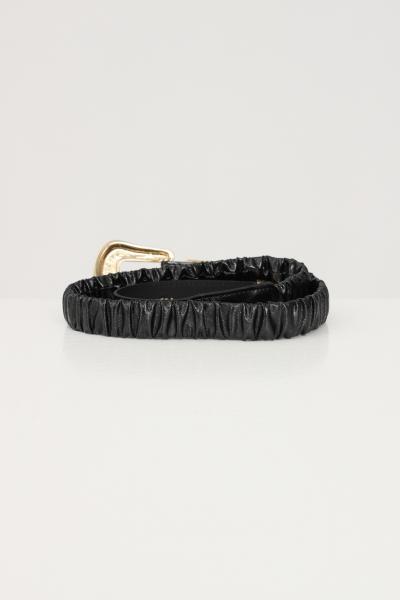 ARGENTO ANTICO Cintura elastica donna in nero brand argento antico con fibbia oro  Cinture | AA1615NERO