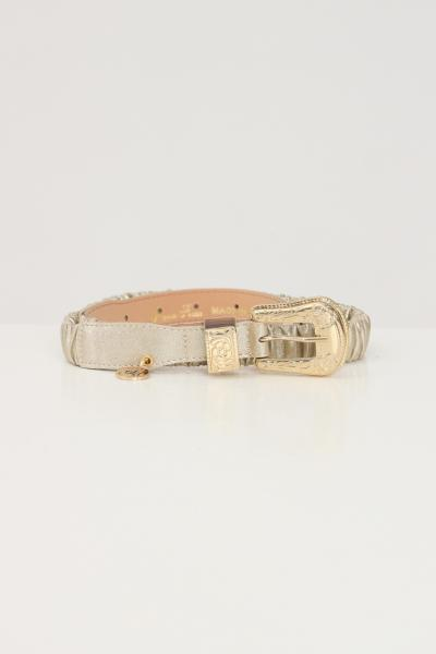 ARGENTO ANTICO Cintura elastica donna in oro brand argento antico con fibbia tono su tono  Cinture | AA1615ORO