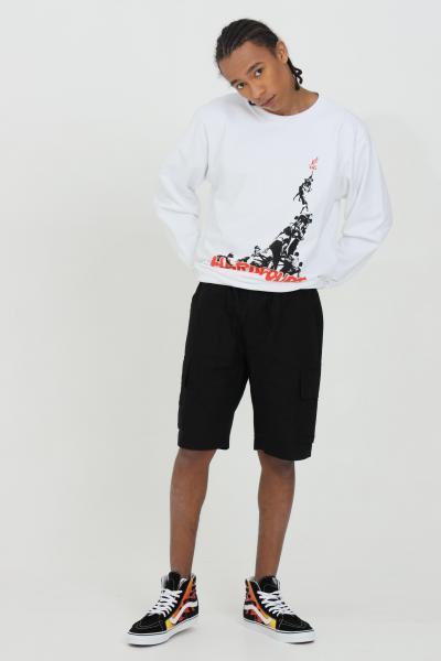 AUSTRALIAN Felpa uomo bianco australian girocollo con stampa frontale modello comodo con elastico sul fondo  Felpe | HCUFE0017002
