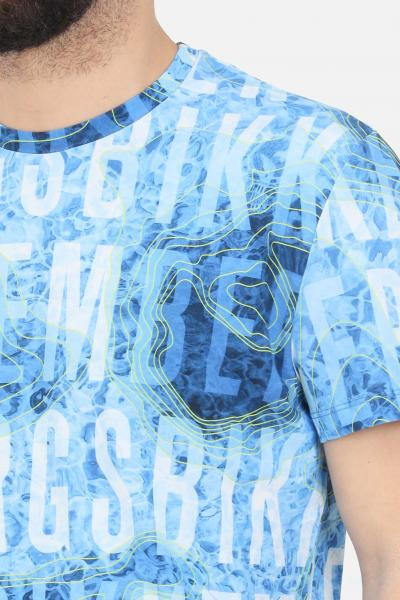 BIKKEMBERGS T-shirt uomo azzurro-fantasy bikkembergs a manica corta con stampa all-over  T-shirt   C410100E22500021