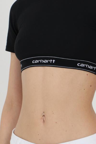 CARHARTT T-shirt donna nero carhartt a manica corta, modello crop con molla logata  T-shirt | I027559.0389.90