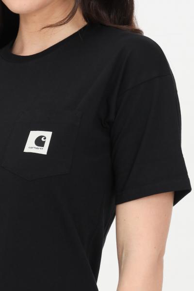 CARHARTT T-shirt donna nero carhartt a manica corta con taschino frontale  T-shirt | I029070.0389.00