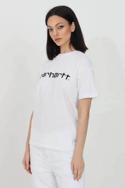 CARHARTT T-shirt donna bianco carhartt a manica corta con stampa logo frontale a contrasto  T-shirt   I029076.0302.90