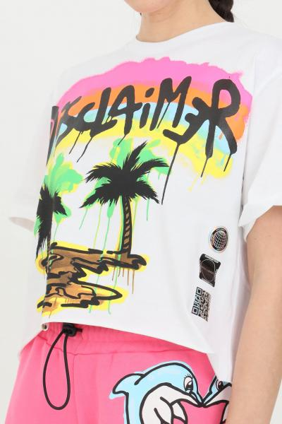 DISCLAIMER T-shirt donna bianco Disclaimer a manica corta e maxi stampa serigrafica sul fronte  T-shirt   21EDS50632BIANCO