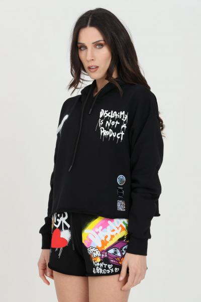 DISCLAIMER Felpa donna nero Disclaimer con cappuccio e maxi stampa sul retro  Felpe   21EDS50638NERO