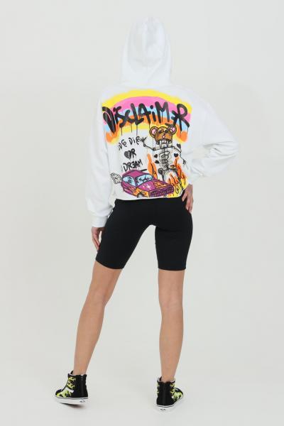 DISCLAIMER Felpa donna bianco con taglio corto e cappuccio con lacci.Maxi stampa sul retro in serigrafia  Felpe   21EDS50641BIANCO