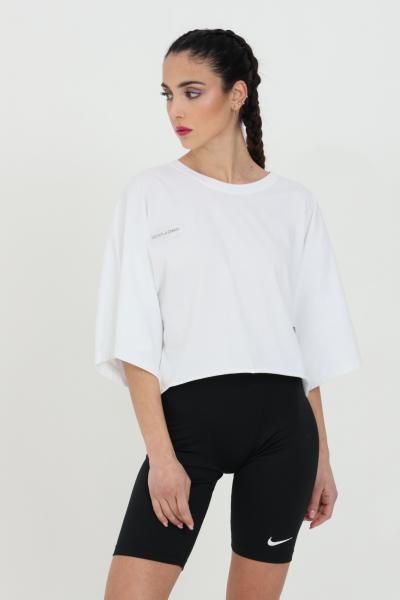 DISCLAIMER T-shirt donna nero Disclaimer a manica corta con taglio corto e manica over. Maxi stampa sul retro.  T-shirt   21EDS50647BIANCO