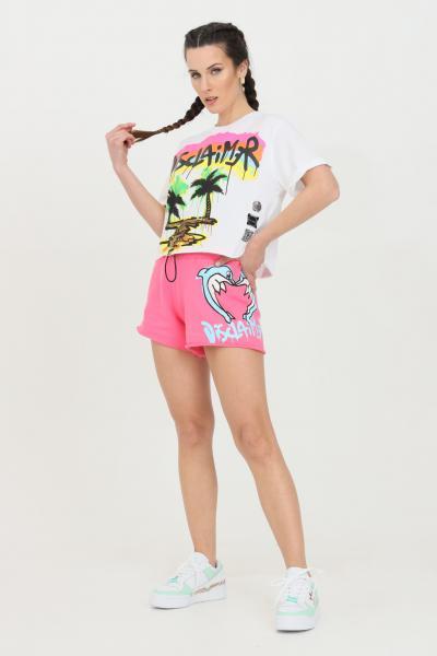 DISCLAIMER Shorts donna fuxia Disclaimer casual con vita elastica e stampa serigrafica  Shorts   21EDS50659FUXIAFLUO