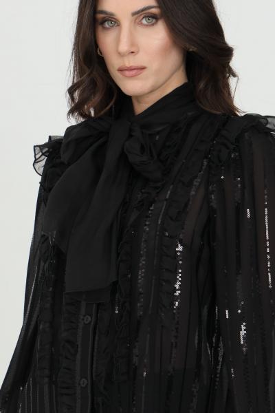 DRAMèE Camicia donna nero dramee elegante con trasparenze, applicazioni paillettes e ricami. Foulard integrato tono su tono  Camicie | D21009NERO