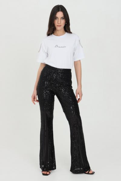 DRAMèE Pantaloni donna nero dramee elegante con trasparenze e applicazioni paillettes, chiusura sul retro con zip  Pantaloni | D21010NERO