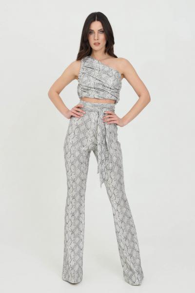 DRAMèE Pantaloni donna silver dramee elegante a palazzo con cintura in vita, stampa glitter pitone  Pantaloni | D21017.
