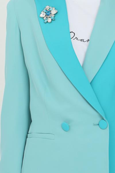 DRAMèE Giacca donna azzurro dramee modello bicolor con applicazione spilla fiore frontale. Finte tasche frontali. Chiusura con bottone  Giacche | D21022.