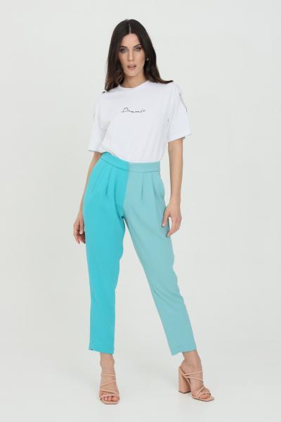DRAMèE Pantaloni donna azzurro dramee elegante modello bicolor taglio classico, chiusura con zip e gancio. Tasche laterali  Pantaloni | D21023.