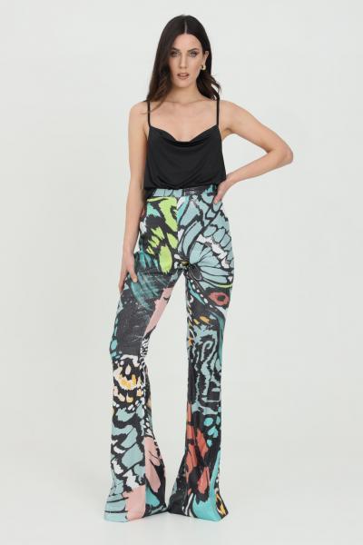 DRAMèE Pantaloni donna multicolor dramee casual con stampa fantasy allover, chiusura con zip laterale. Modello a fondo ampio  Pantaloni | D21069.