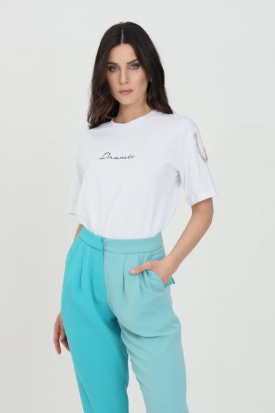 DRAMèE T-shirt donna bianco dramee a manica corta con logo ricamato frontale e applicazioni strass sulle spalle  T-shirt | D21072.